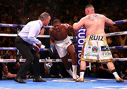 Anthony Joshua (centre) in action against Andy Ruiz Jr (right) in the WBA, IBF, WBO and IBO Heavyweight World Championships title fight at Madison Square Garden, New York.