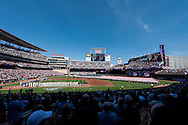 A general view of Target Field during the national anthem on Opening Day on April 8, 2011.  The game featured the Minnesota Twins and the Oakland Athletics.