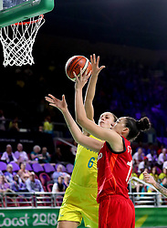 England's Azania Stewart (right) and Australia's Stephanie Talbot in action in the Women's Gold Medal Game at the Gold Coast Convention and Exhibition Centre during day ten of the 2018 Commonwealth Games in the Gold Coast, Australia.