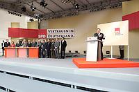 13 AUG 2005 HANNOVER/GERMANY:<br /> Gerhard Schroeder (R), SPD, Bundeskanzler, haelt eine Rede, Wahlkampfauftaktveranstaltung der SPD, Opernplatz<br /> Gerhard Schroeder (R), Fed. Chancellor, during his speech, opening event of the Social Democrats Party election campaign<br /> IMAGE: 20050813-01-029<br /> KEYWORDS: Wahlkampf, Bundestagswahl, Gerhard Schröder, speech, Übersicht, Buehne, Bühne