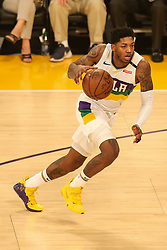February 27, 2019 - Los Angeles, CA, U.S. - LOS ANGELES, CA - FEBRUARY 27: New Orleans Pelicans Guard Elfrid Payton (4) during the first half of the New Orleans Pelicans versus Los Angeles Lakers game on February 27, 2019, at Staples Center in Los Angeles, CA. (Photo by Icon Sportswire) (Credit Image: © Icon Sportswire/Icon SMI via ZUMA Press)