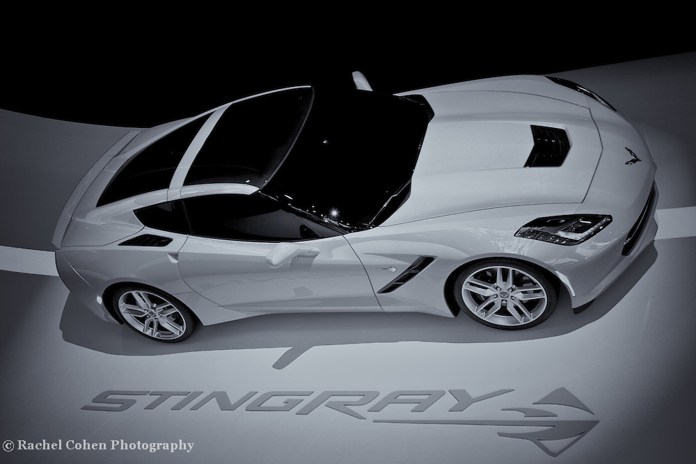 """""""2014 Chevy Corvette"""" - B&W<br /> <br /> The awesome, long awaited 2014 Chevrolet Corvette Stingray!!<br /> A cool and stylish black and white image!!<br /> <br /> Cars and their Details by Rachel Cohen"""