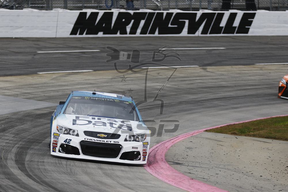 October 28, 2017 - Martinsville, Virginia, USA: Kyle Larson (42) brings his car through the turns during practice for the First Data 500 at Martinsville Speedway in Martinsville, Virginia.