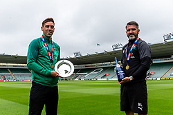 (Free to use courtesy of Sky Bet) Captain Gary Sawyer and Manager Ryan Lowe (social distanced) as Plymouth Argyle celebrate promotion to League One after the curtailment of the regular season due to the Covid-19 pandemic - Rogan/JMP - 01/07/2020 - Home Park - Plymouth, England - Sky Bet League 2.