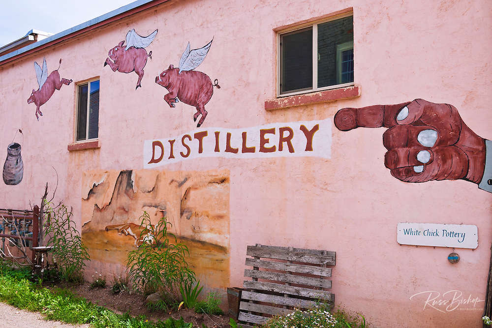 Flying Pig Distillery mural, Mancos, Colorado