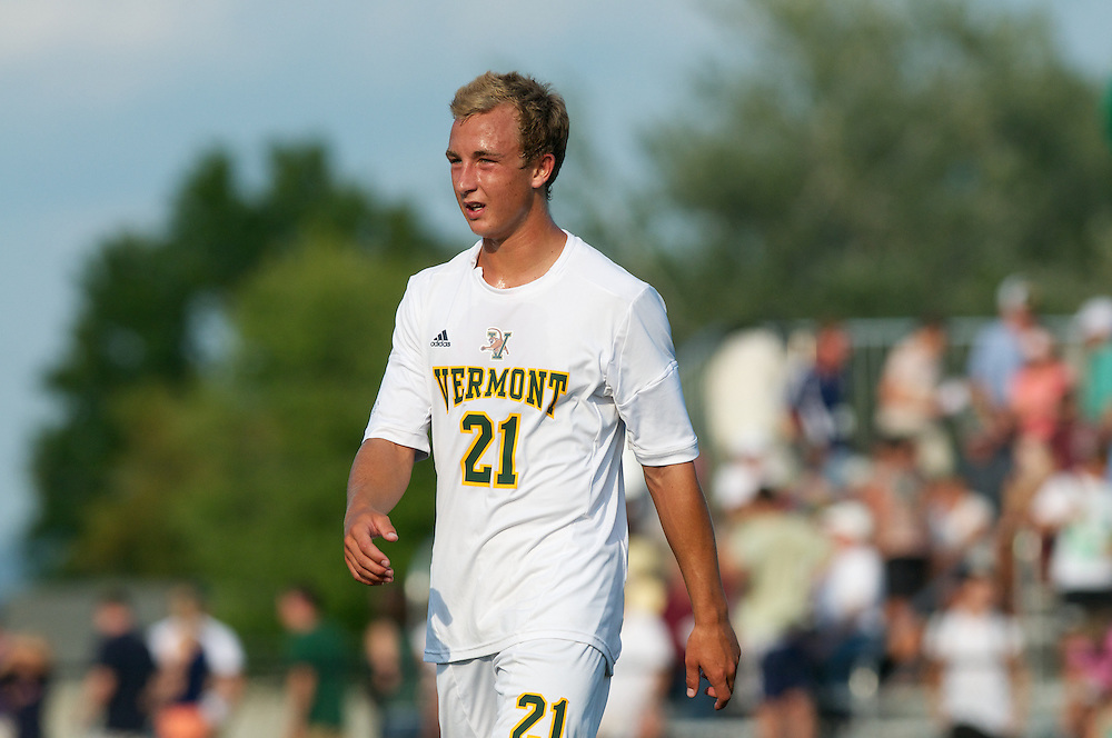 Catamounts midfielder Danny Childs (21) during the men's soccer game between the Central Connecticut State University Blue Devils and the Vermont Catamounts at Virtue Field on Friday afternoon September 7, 2012 in Burlington, Vermont.