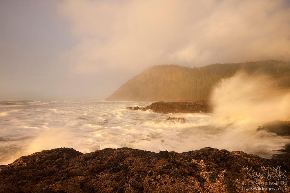 Pacific Ocean waves slam against the rugged coastline at Cape Perpetua near Yachats, Oregon.