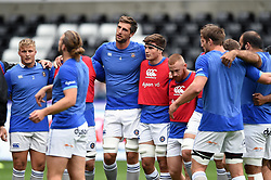 Luke Charteris of Bath Rugby looks on in a huddle during the pre-match warm-up - Mandatory byline: Patrick Khachfe/JMP - 07966 386802 - 20/08/2017 - RUGBY UNION - Liberty Stadium - Swansea, Wales - Ospreys v Bath Rugby - Pre-season Friendly