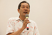 """Ex SDP politician, Ryoichi Hattori speaks at a press conference by rape Survivor and activist, Catherine """"Jane"""" Fisher in the First Office Building of the Members of the House of Representatives, Nagatacho, Tokyo, Japan, Friday July 18th 2014. Ms Fisher was raped near Yokusuka US Naval Base in Kanagawa in 2002 and has been campaign for the rights of rape victims in Japan since after finding the US Military and Japanese police obstructive and uninterested in bringing her attacker to justice."""