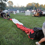 Balloon crews prepare for launch around rural Michigan near Battle Creek during competition in the 20th FAI World Hot Air Ballooning Championships. Battle Creek, Michigan, USA. 23rd August 2012. Photo Tim Clayton