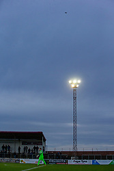 A drone flying over the game. Arbroath 2 v 0 Montrose, Scottish Football League Division One played 10/11/2018 at Arbroath's home ground, Gayfield Park.