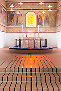 Altar at Jelling Kirke (Gudstjeneste) famous modern architecture church birthplace of Christianity in Denmark