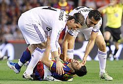 20-04-2011 VOETBAL: COPA DEL REY FC BARCELONA - REAL MADRID: VALENCIA<br /> David Villa (c) and Real Madrids Sergio Ramos (l) and Alvaro Arbeloa (r) <br /> **NETHERLANDS ONLY**<br /> ©2011-FRH/EXPA/ Alterphotos/ Acero