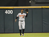 CHICAGO - MAY 23:  Adam Jones #10 of the Baltimore Orioles fields against the Chicago White Sox on May 23, 2018 at Guaranteed Rate Field in Chicago, Illinois.  (Photo by Ron Vesely)  Subject: Adam Jones