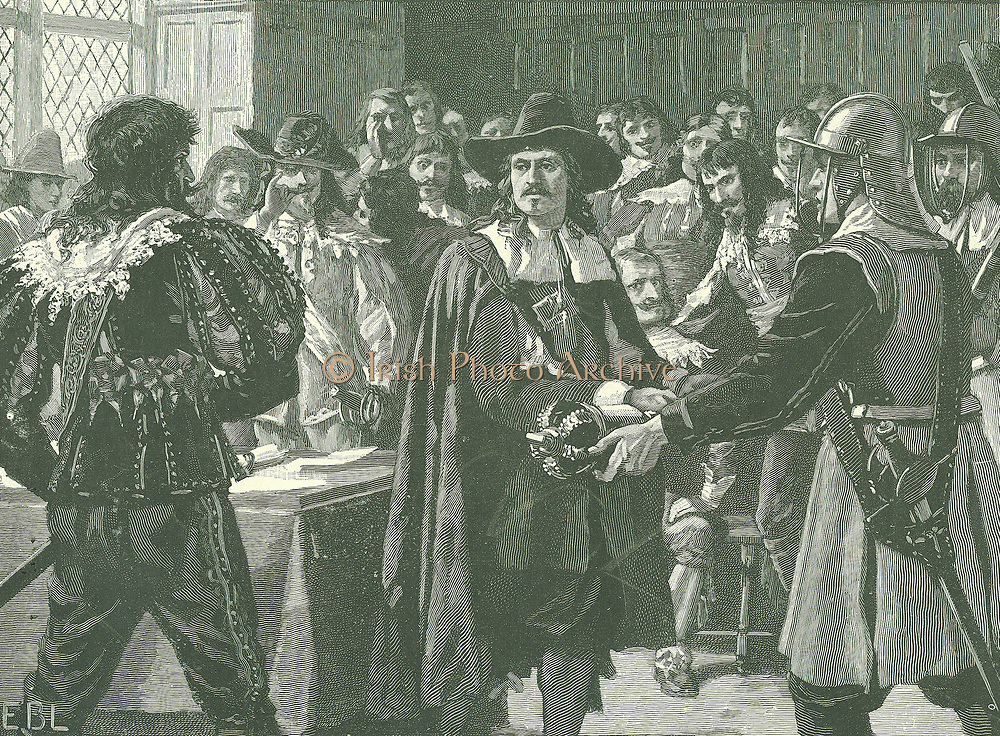 Oliver Cromwell (1599-1658) English statesman. Lord Protector (1653-1658).  Cromwell dissolving the Long Parliament in 1653. The Long Parliament began in 1640. Engraving c1885.