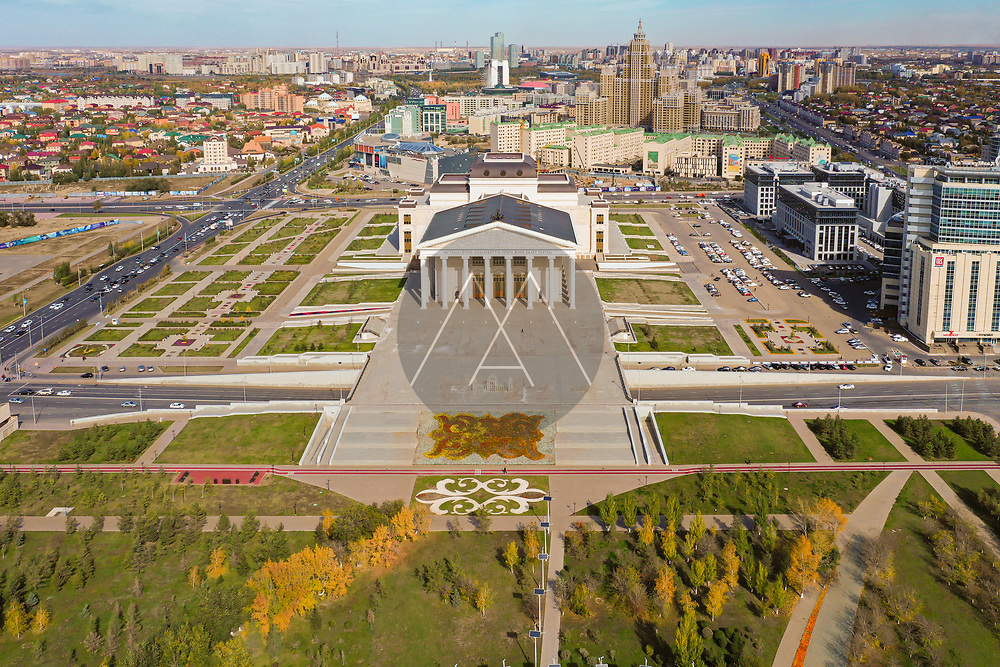Aerial view of Astana Opera House, Nur Sultan, Kazakhstan. Taken from above Lovers park, with Astana Park in the background. Taken in Autumn.