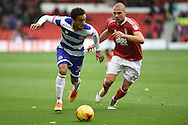 Queens park Rangers defender James Perch (24) battles for possession with Nottingham Forest midfielder Pajtim Kasami (22)  during the EFL Sky Bet Championship match between Nottingham Forest and Queens Park Rangers at the City Ground, Nottingham, England on 5 November 2016. Photo by Jon Hobley.