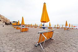 25.05.2017, Giardini Naxsos, ITA, 43. G7 Gipfel in Taormina, im Bild Strandliegen am Badestrand des Hilton Hotel. Im Hotel ist das Pressecenter untergebracht. // Beach chairs on the beach of the Hilton. The hotel also houses the press center before the 43rd G7 summit in Giardini Naxsos, Italy on 2017/05/25. EXPA Pictures © 2017, PhotoCredit: EXPA/ Johann Groder