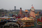 Fairground seen from above in Stratford, East London, England, United Kingdom.