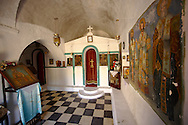 Interior of the Byzantine church of Taxiarchis (Archangels ), Paliachora, Aegina Greek Saronic Islands. .<br /> <br /> If you prefer to buy from our ALAMY PHOTO LIBRARY  Collection visit : https://www.alamy.com/portfolio/paul-williams-funkystock/aegina-greece.html <br /> <br /> Visit our GREECE PHOTO COLLECTIONS for more photos to download or buy as wall art prints https://funkystock.photoshelter.com/gallery-collection/Pictures-Images-of-Greece-Photos-of-Greek-Historic-Landmark-Sites/C0000w6e8OkknEb8