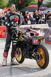Jordan Graham on his number 47 Indian Hooligan racer in the Revival and Roland Sands sponsored Super Hooligan races in the parking lot of the Austin American Statesman outside the Handbuilt Show. Austin, Texas USA. Saturday, April 13, 2019. Photography ©2019 Michael Lichter.