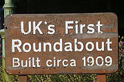 "Britains first roundabout built in c.1909<br /> In 1898 Ebenezer Howard published his book ""Tomorrow: A Peaceful Path to Reform"" (later ""Garden Cities of Tomorrow"") founding the Garden Cities Association. His plan was to create a new, planned  settlement that combined the best of town and country - the first of which became Letchworth Garden City in 1903, laid out by architects Barry Parker and Raymond Unwin. It was followed in 1920 by a second garden city at Welwyn. The movement inspired Garden Cities in Europe and currently has been revived as a potential solution to Britain's housing crisis"