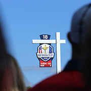 Ryder Cup 2016. The Ryder Cup sign at the eighteenth tee at the Hazeltine National Golf Club on September 29, 2016 in Chaska, Minnesota.  (Photo by Tim Clayton/Corbis via Getty Images)
