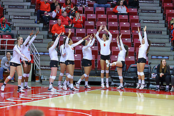 23 November 2017:  Redbird alternates celebrate a point on the sidelines during a college women's volleyball match between the Valparaiso Crusaders and the Illinois State Redbirds in the Missouri Valley Conference Tournament at Redbird Arena in Normal IL (Photo by Alan Look)