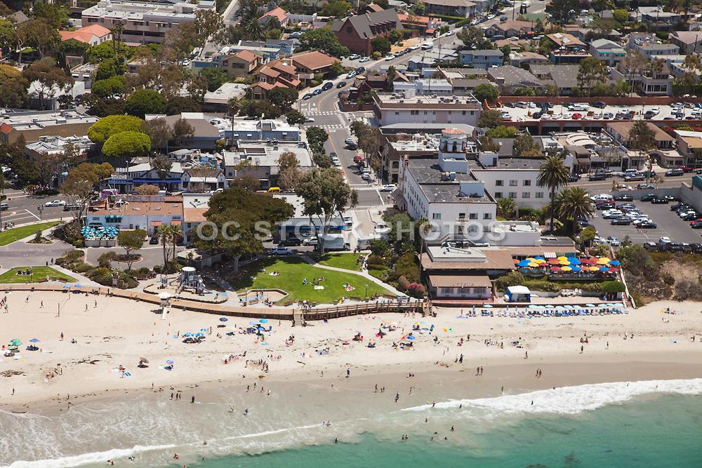 Aerial of Main Beach in Laguna Beach California