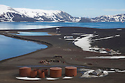 Remains of the Norwegian Hektor Whaling Station along with the abandoned British Base, B, Whaler's Bay, Deception Island, Antarctica.