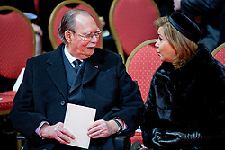 """File photo dated December 123, 2014 of Grand Duke Jean of Luxembourg, here with Grand Duchess Maria Teresa, attending Queen Fabiola of Belgium funeral in Brussels, Belgium. Grand Duke Jean has died at the age of 98 with his family at his bedside. He had recently been admitted to hospital suffering from a pulmonary infection. Grand Duke Henri announced the death of his father in a statement saying, """"It is with great sadness that I inform you of the death of my beloved father, His Royal Highness Grand Duke Jean, who has passed away in peace, surrounded by the affection of his family."""" Photo by Robin Utrecht/ABACAPRESS.COM"""