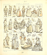Ancient Holland fashion and lifestyle, 18th century from Geschichte des kostums in chronologischer entwicklung (History of the costume in chronological development) by Racinet, A. (Auguste), 1825-1893. and Rosenberg, Adolf, 1850-1906, Volume 5 printed in Berlin in 1888