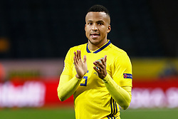 November 21, 2018 - Stockholm, Sweden - Martin Olsson of Sweden celebrates victory during the UEFA Nations League B Group 2 match between Sweden and Russia on November 20, 2018 at Friends Arena in Stockholm, Sweden. (Credit Image: © Mike Kireev/NurPhoto via ZUMA Press)