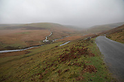 Rainy weather along the Elan Valley in Wales, United Kingdom. The Elan Valley Reservoirs are a chain of man-made lakes created from damming the Elan and Claerwen rivers within the Elan Valley in Mid Wales.