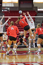19 August 2017:  Jaelyn Keene(2) and Monica Miller(15) during a college women's volleyball match Scrimmage of the Illinois State Redbirds at Redbird Arena in Normal IL (Photo by Alan Look)