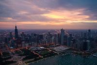 Chicago Skyline Near Sunset