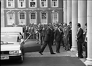 EEC Leaders Meet At Dublin Castle.   (N4)..1979..29.11.1979..11.29.1979..29th November 1979..At Dublin Castle the leaders of the countries within the EEC held a summit conference to discuss issues which would affect the EEC over the forthcoming years..Mr Giscard d'Estaing of France is pictured arriving to take part in the EEC summit in Dublin Castle.
