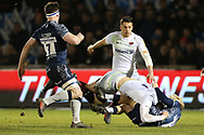 Saracens Nick Isiekwe tackled by Sale Shark's Faf De Klerk during the Aviva Premiership match between Sale Sharks and Saracens at the AJ Bell Stadium, Eccles, United Kingdom on 16 February 2018. Picture by George Franks.