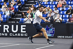 October 4, 2018 - St. Louis, Missouri, U.S - MARK PHIIPPOUSSIS with the backhand return during the Invest Series True Champions Classic on Thursday, October 4, 2018, held at The Chaifetz Arena in St. Louis, MO (Photo credit Richard Ulreich / ZUMA Press) (Credit Image: © Richard Ulreich/ZUMA Wire)