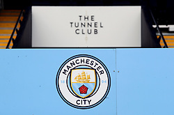 Manchester City club badge above the tunnel before the Premier League match at the Etihad Stadium, Manchester.