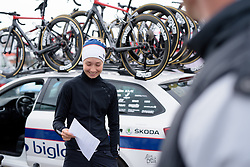Cecilie Uttrup Ludwig is pretty proud of the stem notes she's made for the team at the 127 km Omloop van het Hageland on February 26th 2017, starting and finishing in Tielt Winge, Belgium. (Photo by Sean Robinson/Velofocus)