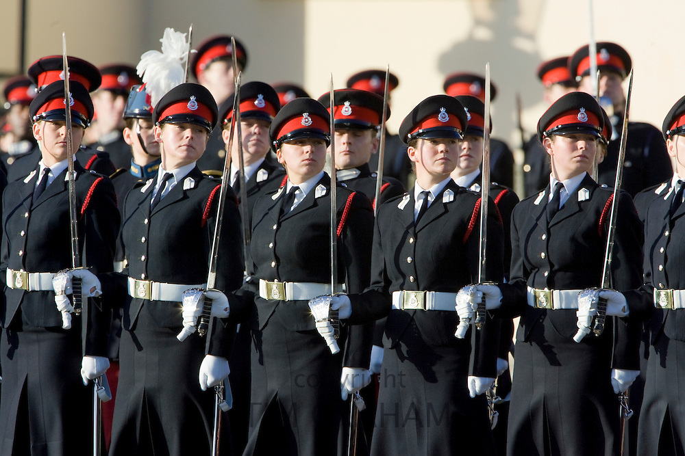 Female soldiers in military dress uniform on parade at Sandhurst Military Academy