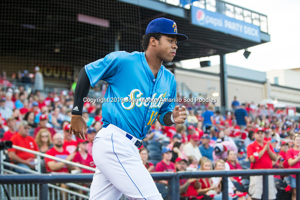 Amarillo Sod Poodles outfielder Buddy Reed (12) against the Tulsa Drillers during the Texas League Championship on Tuesday, Sept. 10, 2019, at HODGETOWN in Amarillo, Texas. [Photo by John Moore/Amarillo Sod Poodles]