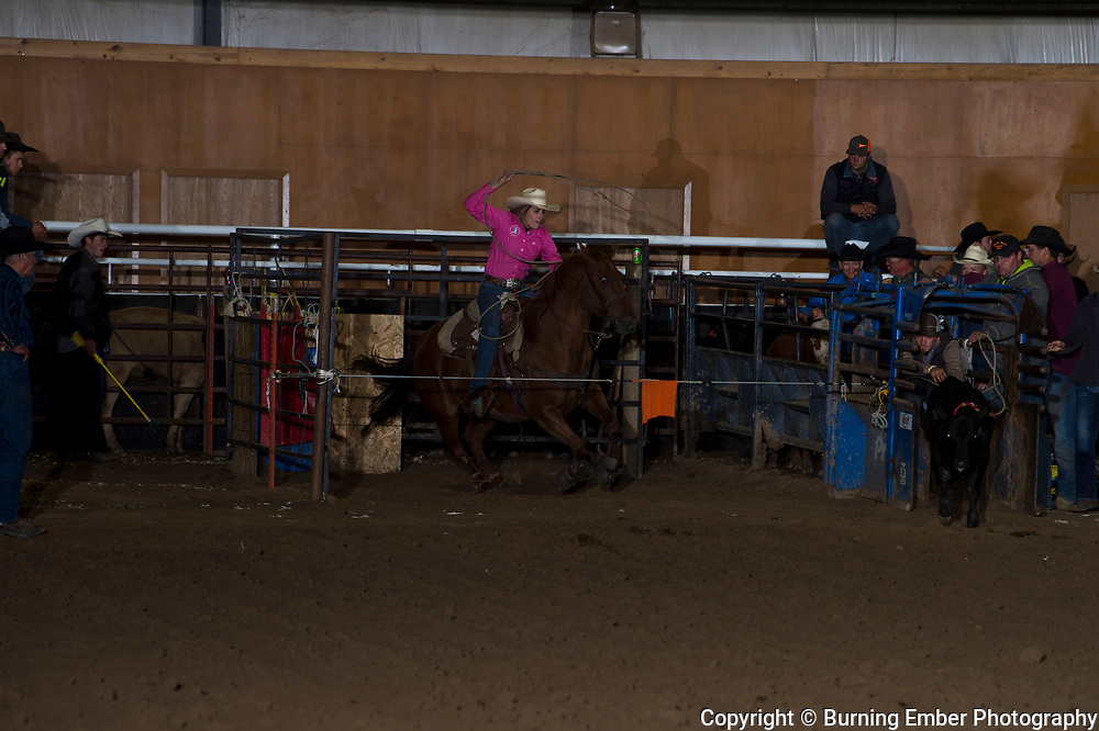 Rebeka Nortestad at The Blitz American Qualifier Roping Event. Sept 21, 2018.  Photo by Josh Homer/Burning Ember Photography.  Photo credit must be given on all uses.