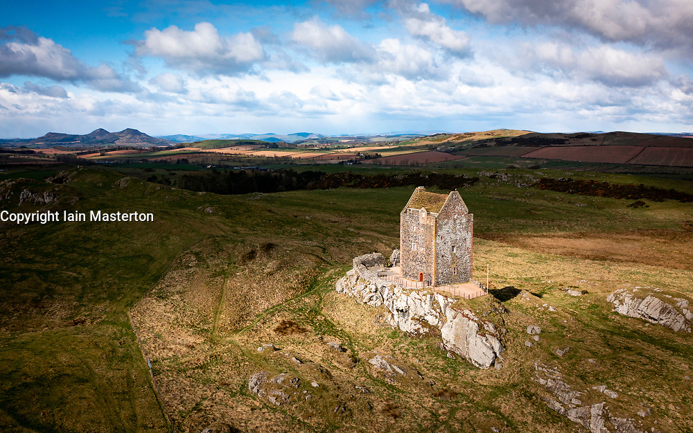 Aerial view of Smailholm Tower in the Scottish Border, Scotland UK