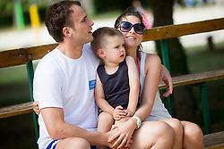 "Uros Zorman with his son Jakob and wife Katja during Handball Summer Camp named ""Rokometni tabor Urosa Zormana 2013"" on June 29, 2013 in Savudrija, Croatia. (Photo by Vid Ponikvar / Sportida.com)"