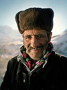 "Wakhi trader..Wakhi winter shepherds known as ""Shpunds"" in their settlement of Kher Metek, on the edge of the Little Pamir. They often look over Kyrgyz sheep and yak herds for payment in animals. .Winter expedition through the Wakhan Corridor and into the Afghan Pamir mountains, to document the life of the Afghan Kyrgyz tribe. January/February 2008. Afghanistan"