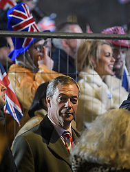 © Licensed to London News Pictures. 31/01/2020. London, UK. Brexit Party leader NIGEL FARAGE joins supporters of Brexit as they celebrate in Westminster, London, on the day that the UK leaves the European Union. 51.9% of the UK population voted to leave the EU in a referendum in June 2016. Photo credit: Ben Cawthra/LNP