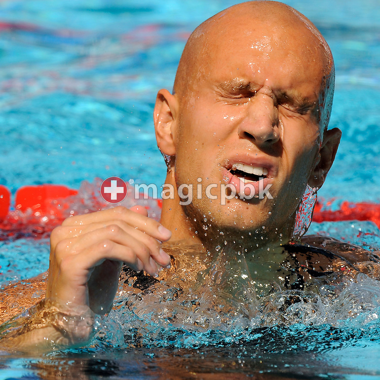 Brent HAYDEN of Canada reacts after competing in the men's 4x100m medley relay preliminary at the 13th FINA World Championships at the Foro Italico complex in Rome, Italy, Sunday, Aug. 2, 2009. (Photo by Patrick B. Kraemer / MAGICPBK)