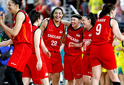 England's Dominique Allen (third right), Rachael Vanderwal (third right) and Eilidh Simpson (second right) celebrate silver medal after the Women's Gold Medal Game at the Gold Coast Convention and Exhibition Centre during day ten of the 2018 Commonwealth Games in the Gold Coast, Australia.